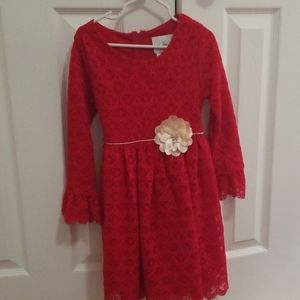 Red and cream lace dress